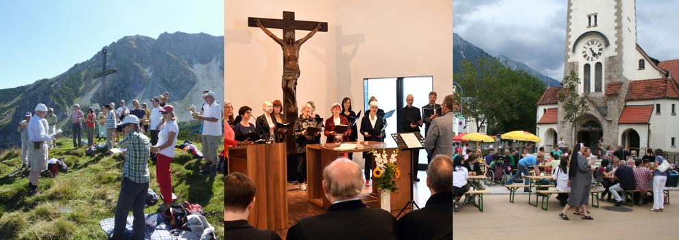 3 Bilder aus dem Gemeindeleben der Christuskirche: Gottesdienst, Taufe und Außenansicht der Kirche